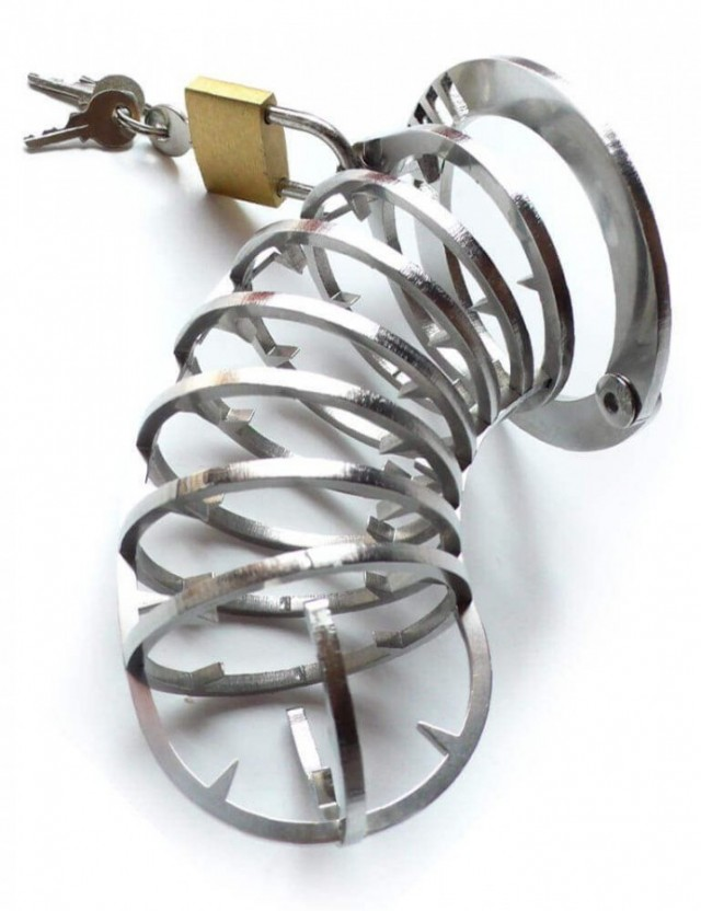Spiked Steel Chastity Belt, 15cm